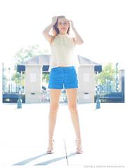 Emma - Neutron Star (jfinite) Tags: blue summer beauty fashion backlight model legs environmental portraiture heels shorts sheer