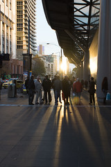 (brent.henriksen) Tags: melbourne victoria australia nikond7100 city southerncrossstation light sun sunset shadow people crowd flare sillhouette