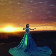 The road is long we carry on, try to have fun in the meantime... (Laudeur Muniz) Tags: composite dress road roadtrip blue girl sunset sun sky clouds photoshop creation azul menina estrada cu nuvens