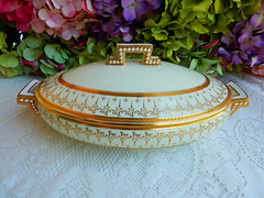 Antique Cauldon Porcelain Covered Serving Bowl ~ Gold Encrusted (Donna's Collectables) Tags: gold antique bowl covered porcelain serving ~ encrusted cauldon