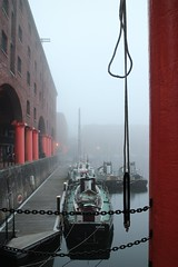 premonition of doom (Towner Images) Tags: copyright mist fog liverpool river boat dock ship rope wharf mersey rigging albertdock towner