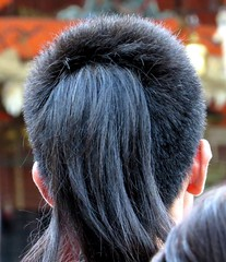 I like it! Interesting hairstyle, Yasaka-jinja Shrine, Kyoto, Japan, July 2014 (Judith B. Gandy) Tags: japan hair kyoto festivals gion shinto shrines matsuri hairstyles gionfestival gionmatsuri yasakajinja gionshrine shintoshrines