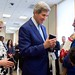 Secretary Kerry Chats With a Yemeni-American Who Received Travel Documents for Family Members Who Had to Flee Yemen During an Event at the U.S. Embassy in Djibouti
