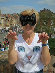 Cat claw pose (steve.tilbury) Tags: cat canon pose mask belgium ieper ramparts wife masked ypres s100 kattenfestival