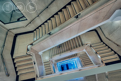 Into The Blue (Adrian Court LRPS) Tags: blue england people blur london architecture stairs buildings unitedkingdom steps staircase gb marble euston hdr wellcometrust wellcomecollection aurorahdr