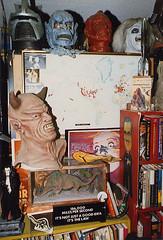 Map in Forrest J. Ackerman's estate, 1986 (Tom Simpson) Tags: halloween vintage mask masks horror demon 1986 1980s memorabilia cylon forrestjackerman gillman thecreaturefromtheblacklagoon ackermansion