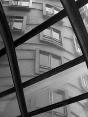Prague - the dancing houses (puss_in_boots) Tags: houses blackandwhite bike architecture ginger traffic dancing prague praha praga gehry fred milunic