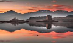 Stalking the Sunset (Jerry Fryer) Tags: pink sunset orange mist seascape beauty clouds reflections landscape scotland highlands near wear stunning oban loch kilts dour castlestalker scotsmen ef24105mmf4l leefilters 5dmk2