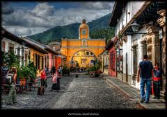 Antigua, Guatemala (BRIANS TRAVELS) Tags: 2005 street city urban mountain church clouds landscape place guatemala cobblestone antigua photomatix nikcolorefex imagenomic nikviveza