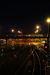 Trainstation Zwolle (biancaaalberts) Tags: road red holland netherlands lamp car yellow night train dark photography lights photo time flash fast trainstation midnight zwolle sluitertijd