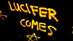 Lucifer Comes (800Spiders) Tags: urban vancouver island graffiti lucifer bc tunnel columbia victoria drain satan british douglas exploration ue drainage urbex darkie draining
