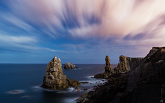 Broken Coast (Ekaitz Arbigano) Tags: sea sky costa moon seascape broken night clouds stars landscape lights coast mar spain rocks long exposure shoreline paisaje highlights luna shore cielo nubes estrellas nocturna coastline rocas cantabria exposicion larga quebrada ekaitz arbigano ekarbig
