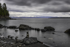 Gray Day (Tony Hochstetler) Tags: longexposure lake weather landscape photography nationalpark nikon gray overcast filter le yellowstonenationalpark yellowstone raining lakeyellowstone nikon2870mmf28 d800e breakthroughphotographtfilter