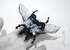 Moonligt couture brooch or pendant (neringaci) Tags: flowers blue summer woman white inspiration black green art wool girl fashion felted silver butterfly bug grey design fly beads wings women crystals gallery pin foto purple legs designer handmade unique background sewing small brooch beetle silk craft insects indoor jewellery textile fabric fantasy gift mohair pearl swarovski sequins stile couture embroidered beaded multicolor organza glassbeads seedbeads neringa grassgreen lampworkbeads leyers outfitt neringaci