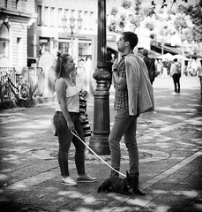 Nothing to say (graveur8x) Tags: man woman conversation mad dog frenchbulldog silence nowords candid street streetphotography people blackandwhite conflict look frau mann strase frankfurt germany deutschland olympus olympusomdem10markii microfourthirds mft 45mm olympusm45mmf18