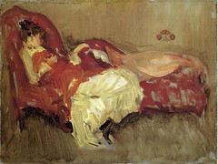 James Abbott McNeill Whistler — Note in Red: The Siesta, 1884. Painting: Oil on panel, 21.6 x 30.5 cm. Private collection. Via Art of Darkness: Daily Art Blog (ArtAppreciated) Tags: red white art fashion lady female century portraits painting whistler james nap sleep fineart blogs american impressionism siesta late abbott genre figurative 19th mcneill 1880s artblogs tumblr artoftheday artofdarkness date1884 artappreciated artofdarknessco artofdarknessblog