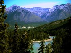Bow Valley Banff AB (Alan FEO2) Tags: blue trees sky canada mountains green water river landscape outdoors horizon ab panasonic alberta valley bow g1 banff dmc bowriver 2oef