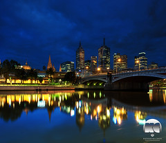 Melbourne twilight (kenneth chin) Tags: city blue reflection yahoo google twilight nikon australia melbourne victoria cbd nikkor verticalpanorama yarrariver digitalblending d810 1424f28g