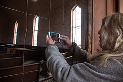 Using her iPhone to take a photo of the Bodie church (m01229) Tags: california statepark photographer tourist smartphone bodie iphone bodieghosttown