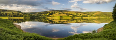 Ladybower on a calm summer evening (Keartona) Tags: peakdistrict ladybower reservoir water still calm summer evening hills derwent edge symmetry reflections sunlight beautiful landscape panorama scenery england derbyshire english