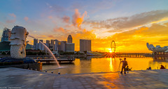 sunrise (jaywu429) Tags: city travel sky people sun water beautiful skyline clouds sunrise river landscape singapore asia outdoor sony singaporeriver marinabay merlionpark cityscpae singaporecity marinabaysands tokina1628mm sonya7r