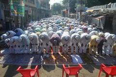Eid celebration: Muslim devotees offering namaz on the occasion of Eid-ul-Fitr (legend_news) Tags: mirzapur up india eid celebration muslim devotees offering namaz occasion eidulfitr