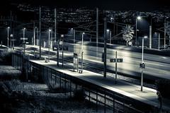 8:00 train (_Franck Michel_) Tags: white motion black station night train dark noir gare railway sombre et nuit blanc flou voie vide emtpy