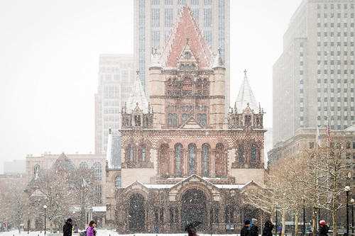 Snowing in Copley Square, Boston