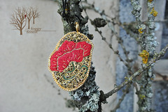 Flower of Provance_2 (~Gilven~) Tags: flowers red green forest gold beads embroidery poppy bead pendant beadembroidery japanesebeads foggyforest