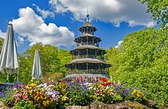 China in Munich (werner boehm *) Tags: flowers architecture munich beergarden biergarten chinesischerturm englishgardenmunich wernerboehm thechinesetower