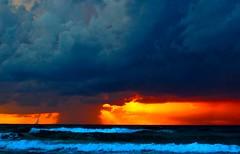 Sailboat, sunset & storm - Tel-Aviv beach (Lior. L) Tags: storm weather sailboat telaviv dramatic tlv stormyweather dramaticscenery