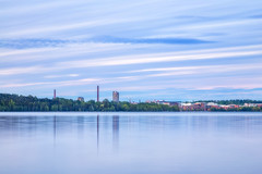 Tampere skyline (Olli Tasso) Tags: city blue sunset lake water skyline suomi finland landscape scenery cityscape view cloudy peaceful overcast calm hour serene tampere maisema torni kaupunki pyhjrvi
