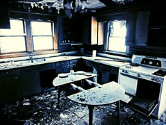 dinner's ready.... (BillsExplorations) Tags: old blue abandoned kitchen dinner table lost illinois ruins decay forgotten abandonedhouse discarded ruraldecay mondayblues kitchennightmares abandonedillinois oncewashome