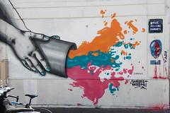 Splash graffiti in Paris (ragingr2) Tags: city pink orange streetart paris france art colors graffiti bucket rainbow artwork hands mural colorful paint artist colours turquoise teal fuchsia colourful splash parijs butteauxcailles paris13 diamants ruedescinqdiamants 13earrondissement