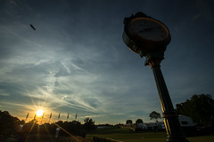 2016 U.S. Open - 3rd Round Sunset (brerwolfe) Tags: sunset sky clock clouds pittsburgh dusk pennsylvania flags usga blimp airship metlife rolex grandstand dirigible 3rdround usopen round3 oakmont 2016 grandstands thirdround oakmontcountryclub