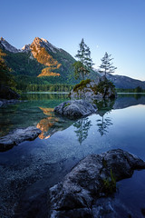 Hintersee (xxremixx) Tags: longexposure blue sunset sun mountain berg rock forest germany bayern deutschland bavaria golden berchtesgaden stones berge steine hour sonnenaufgang enchanted felsen hintersee langzeitbelichtung obersee ramsau knigssee ndfilter fairytail zauberwald nd3 nd1000 goldenestunde sonya7