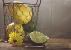 When life gives you lemons... (Fire Fighter's Wife) Tags: lighting wood old summer stilllife food inspiration window june mi composition vintage table 50mm lights lemon haze nikon soft poetry poem basket quote lace antique michigan pastel dream knife lemonade faded pastels dreams dreamy lime poems inspirational upperpeninsula emotions sensations matte feelings sheer wirebasket foodphotography softcolors fadedcolors d80 softhues creativetabletop foodstilllife softhaze vintagefeelings fadedhues antiqueparingknife
