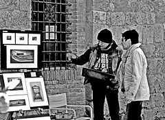 Artist at work partII. Explaining art. (Emanuele Barcali) Tags: vacation sky italy sun black green tower love clouds countryside photo san artist view gimignano weekend withe sunny medieval hills tuscany sangimignano castello borgo castel torri blackwithe togheter
