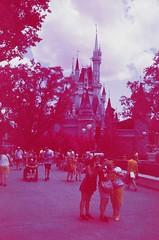 Infrared Castle Selfie (lmills.matthew) Tags: experimental pentax kodak disney slidefilm disneyworld wdw ektachrome colorinfrared magickingdom cir mesuper falsecolor eir aerochrome