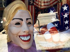 Toothy Smiling Hillary Clinton Halloween Mask (Lynn Friedman) Tags: sanfrancisco halloween smile mask hillaryclinton costumeshop 94117 lynnfriedman