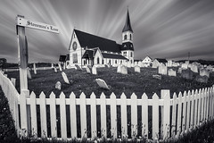 St. Paul's (Tracy Munson Photography) Tags: travel blackandwhite canada tourism church cemetery graveyard architecture vintage newfoundland seaside village antique stpauls wideangle graves atlantic trinity nl gravestones anglican eastcoast atlanticcanada