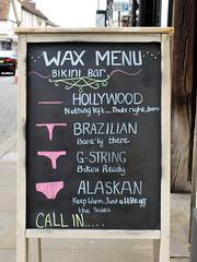 Wax Menu (The original SimonB) Tags: ipswich suffolk july 2016 olympus e420 waxing bikini hollywood brazilian gstring ouch