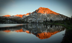 ANS-Mt reflection (E.R.M ( gone fishing, leave a message )) Tags: evening dusk sunset light shadows golden red rock water ripples reflection grass trees mountains snow wilderness landscape california jmt serene outdoor camping hiking backpacking trekking tramping nature backcountry beauty