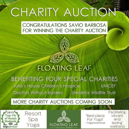 CONGRATULATIONS TO SAVIO BARBOSA of Singapore for placing the winning bid in Floating Leaf's Charity auction. Savio wins a two night deluxe pampering stay for two at Floating Leaf. Savio's generous bid goes directly to help four deserving charities. Julia