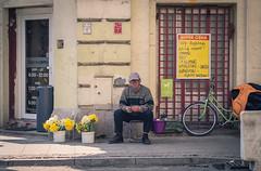 żonkile pt.1 // daffodils pt.1 (realnasty) Tags: street people bike bicycle shop wall prime bucket poland olympus daffodil crating signboard seller omd lodz trader m43 mft