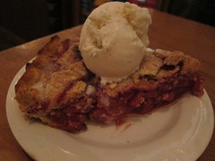 Pear-Raspberry Pie Served A La Mode (tanned and poached) Tags: travel friends food newmexico santafe 2015