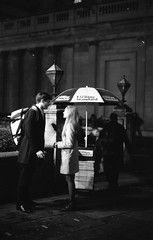 Meeting at Bank (StreetUrchinPhotography) Tags: london 35mm citylife bank eveningstandard ilford fp4 om1 olymous ewndezvous