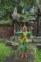 The Apsara (tmeallen) Tags: cambodia dancer siemreap apsara angkorthom khmerclassicaldance lightrain terraceoftheelephants olddoorway traditionalattire goldheaddress femalespirit handsinleafposition