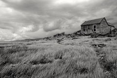 Build your house on a rock (Dreamcatcher photos) Tags: blackandwhite cabin rocks path hill grasses soe isolated offthebeatentrack dreamcatcherphotos
