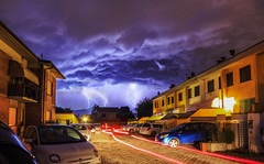 Lights in the dark (Mat Viv) Tags: longexposure nightphotography houses sky storm rain weather night clouds danger canon outdoors power wideangle electricity rainstorm thunderstorm lighttrails lightning dramaticsky thunder neighbourhood lightningbolt cloudscape fury lightningstorm samyang 700d canon700d canoneos700d t5i samyanglens canont5i canoneost5i
